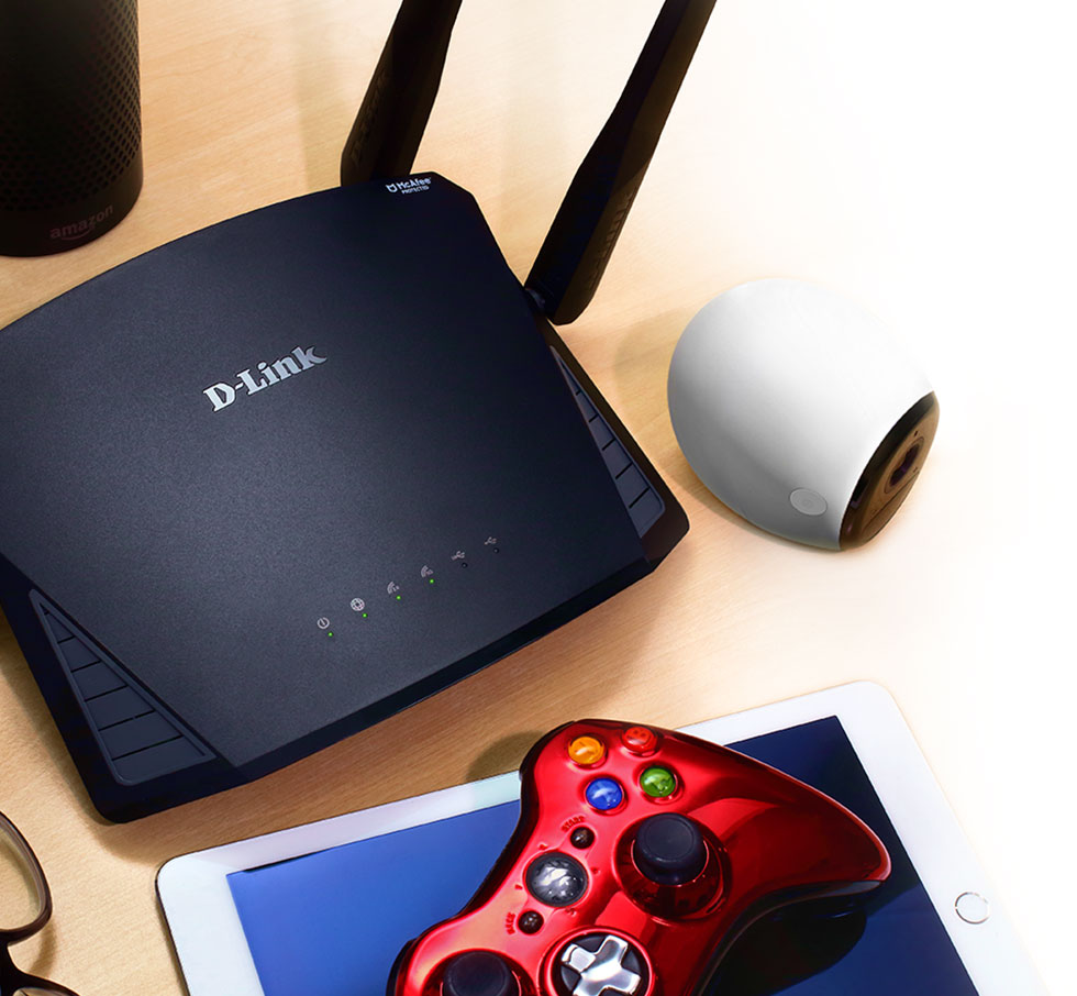 DIR-2660 EXO AC2600 Smart Mesh Wi-Fi Router with gaming devices and a security camera