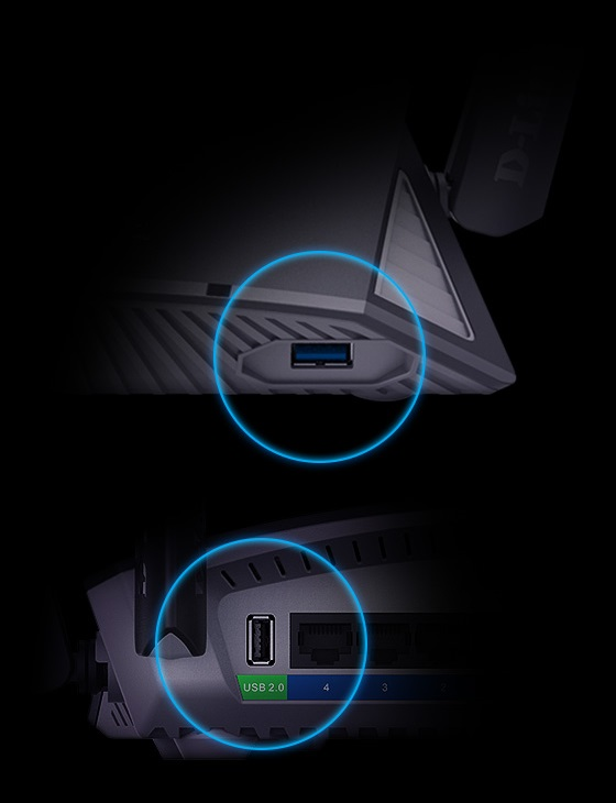 USB ports at the front and back of the device