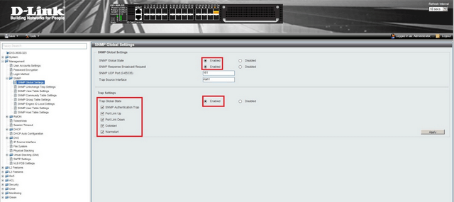 DXS 3600 How to Setup SNMP