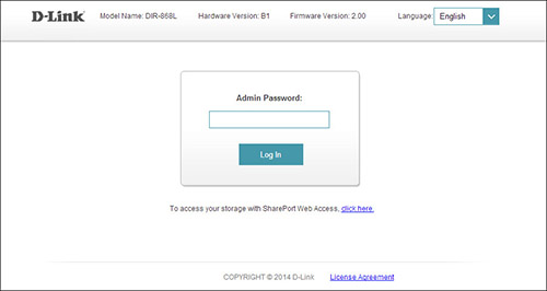 dlink router log in screen