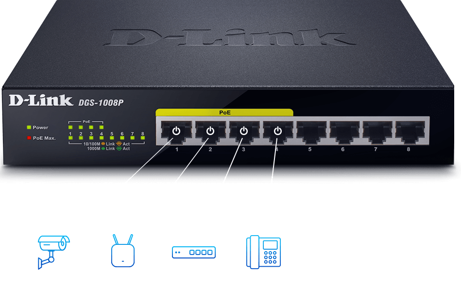 PoE devices connected to the DGS-1008P