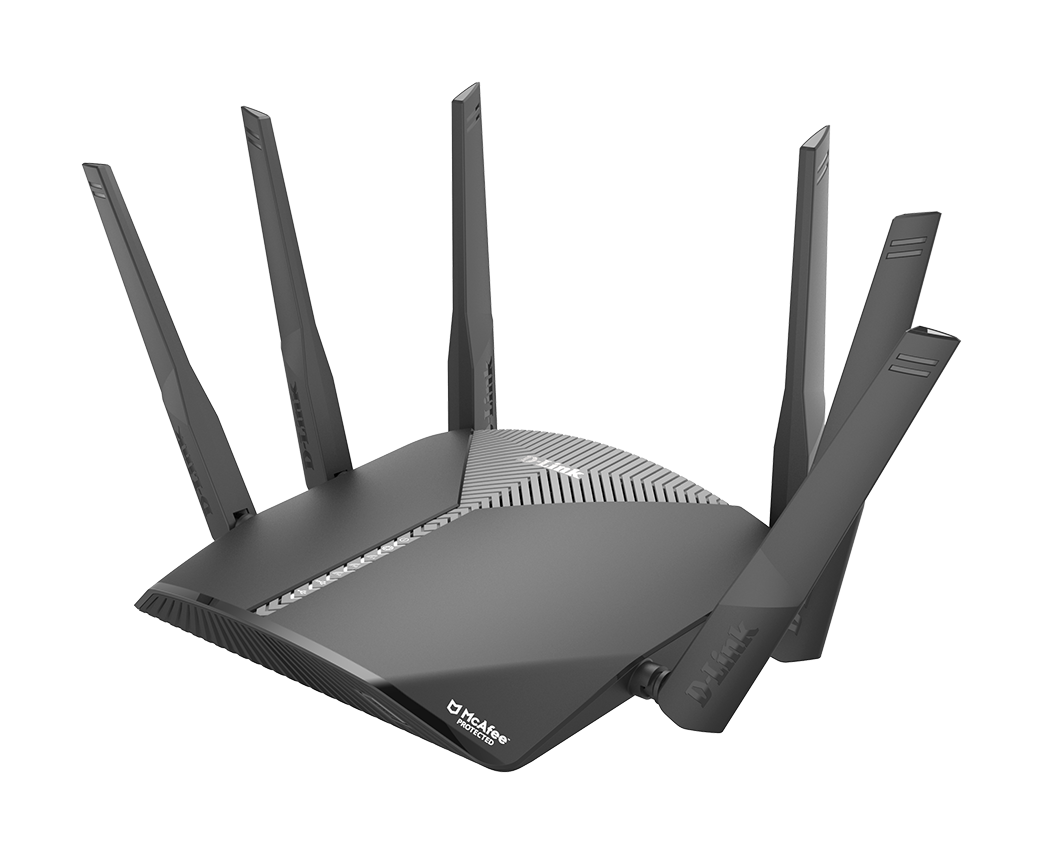 DIR-3060 EXO AC3000 Smart Mesh Wi-Fi Router left side with spread antennas
