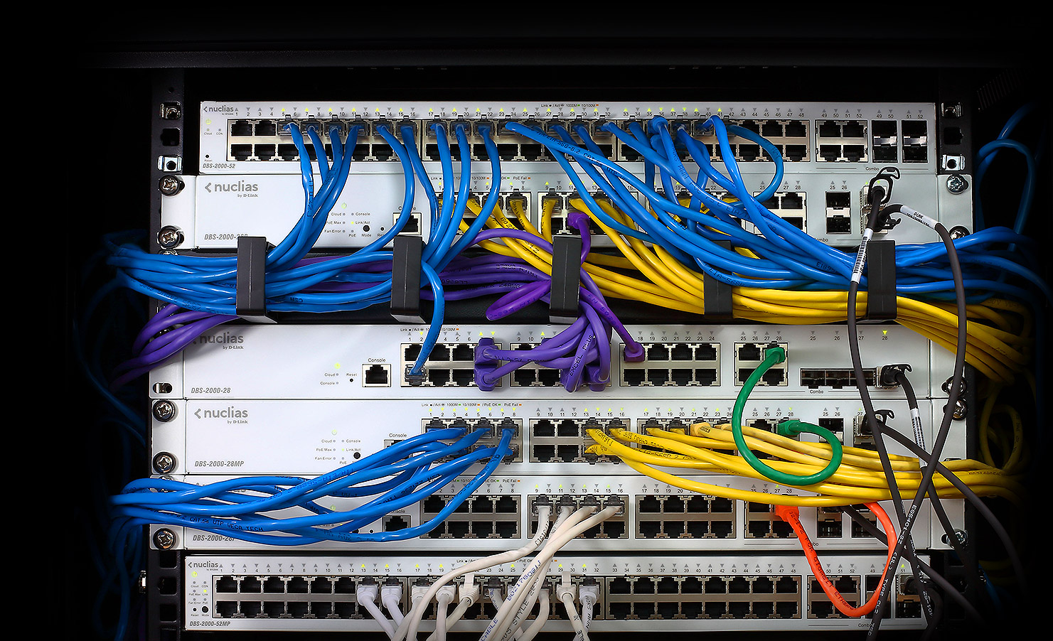 Nuclias Cloud-Managed Switches in a rack