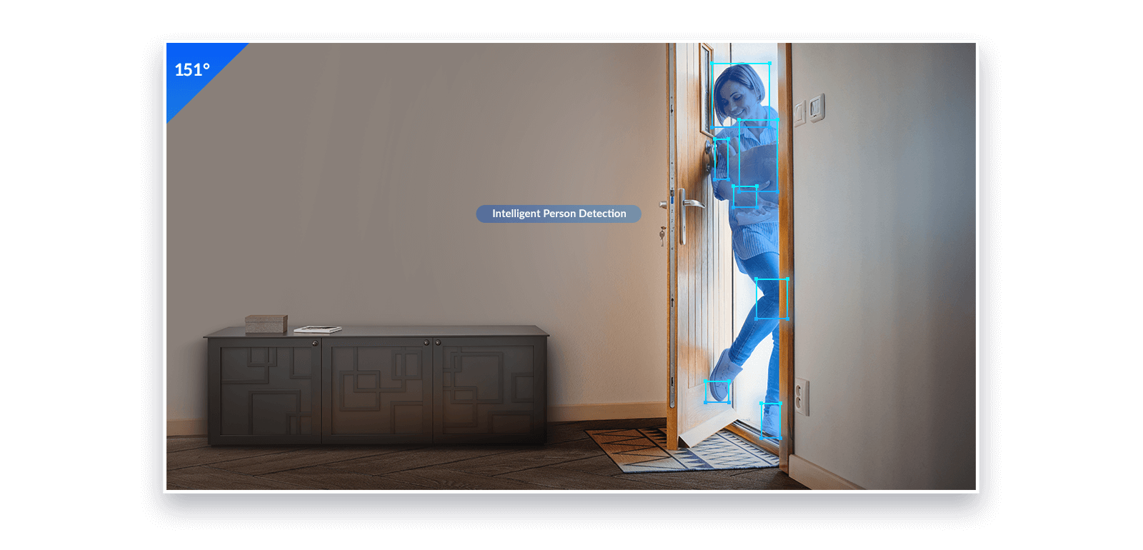 A woman's motion of entering through a door being detected by Person Detection mode