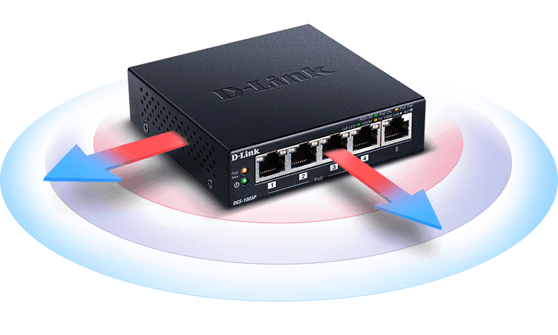 Heat dispersion from the DGS-1005P - 5-Port Desktop Gigabit PoE+ Switch