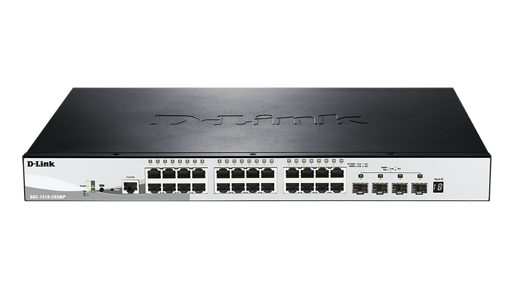 28-Port Gigabit Stackable PoE Smart Managed Switch including 4 10G SFP+ (24 x PoE ports, 370 W PoE budget)