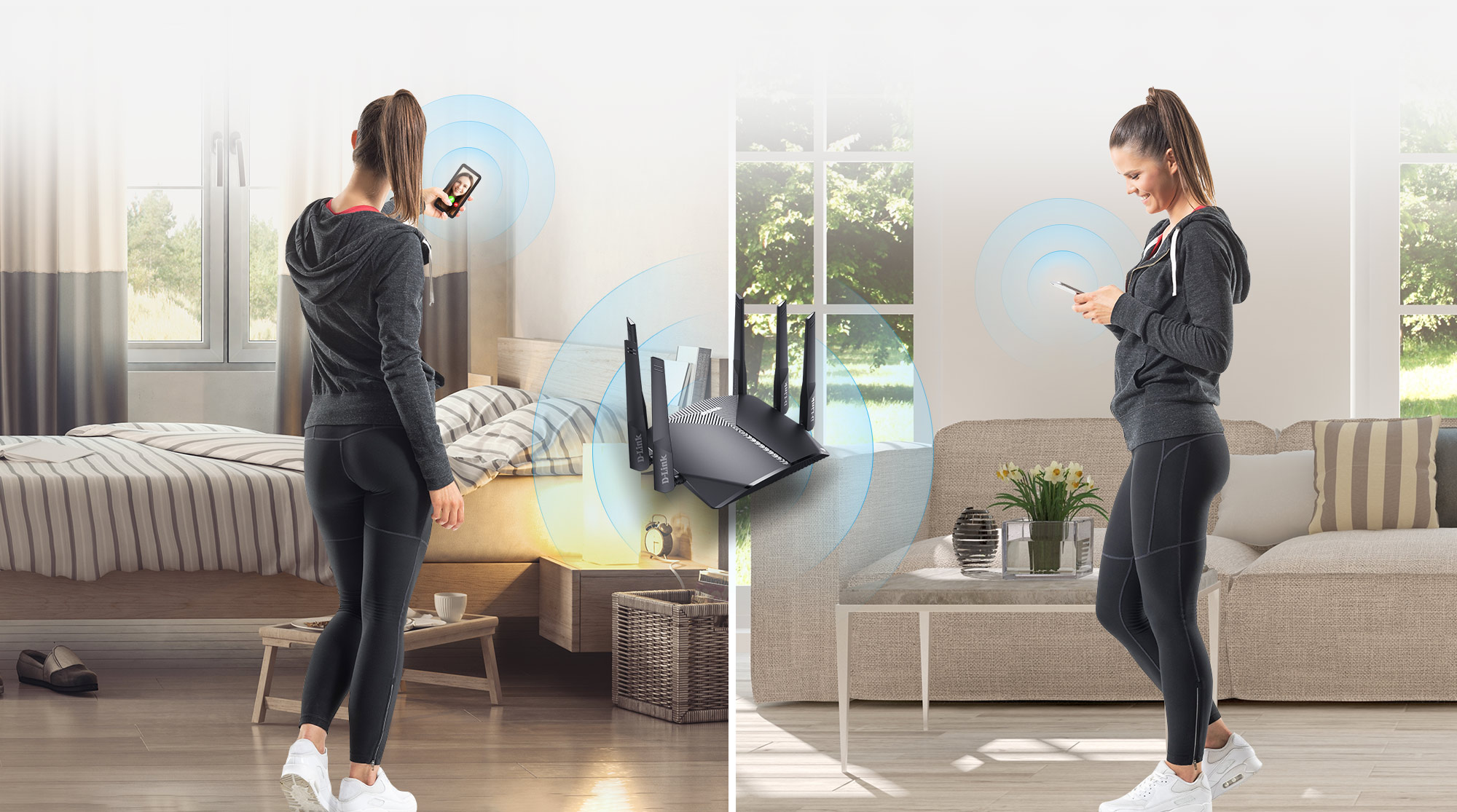 A woman walking to two different rooms and staying seamlessly connected with Mesh Wi-Fi.