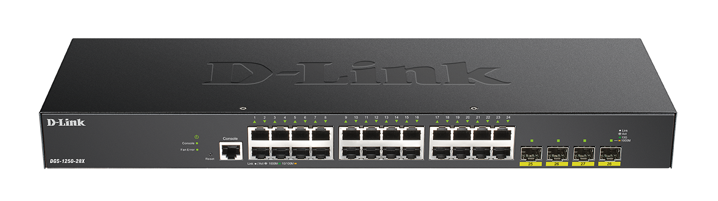DGS-1250-28X 28-Port Gigabit Smart Managed Switch with 10G Uplinks ftont