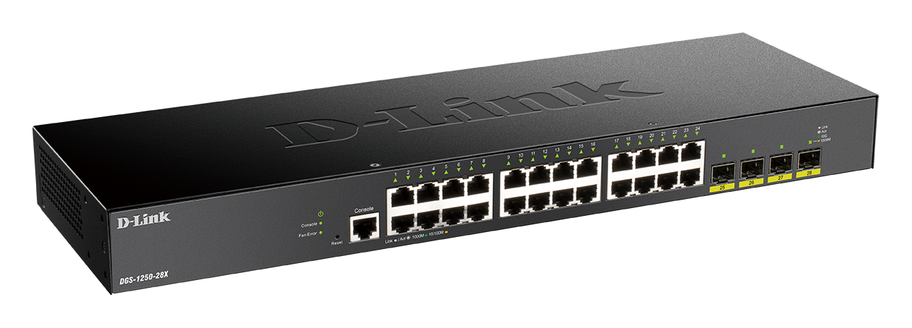 DGS-1250-28X 28-Port Gigabit Smart Managed Switch with 10G Uplinks side