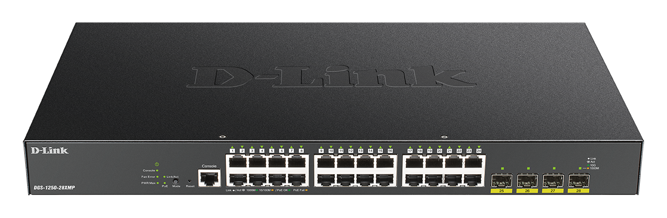 DGS-1250-28MP 52-Port Gigabit Smart Managed PoE Switch with 10G Uplinks front