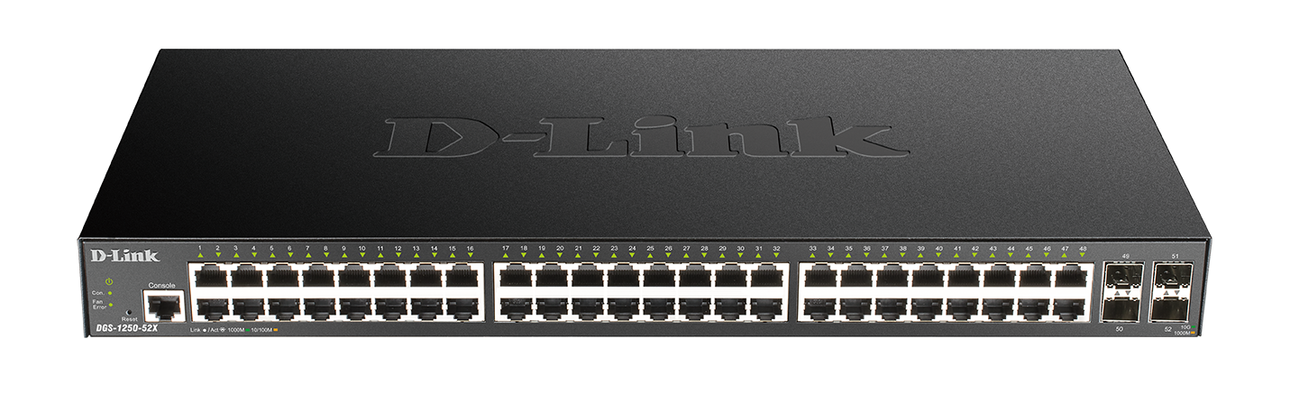 DGS-1250-52XMP 52-Port Gigabit Smart Managed Switch with 10G Uplinks front