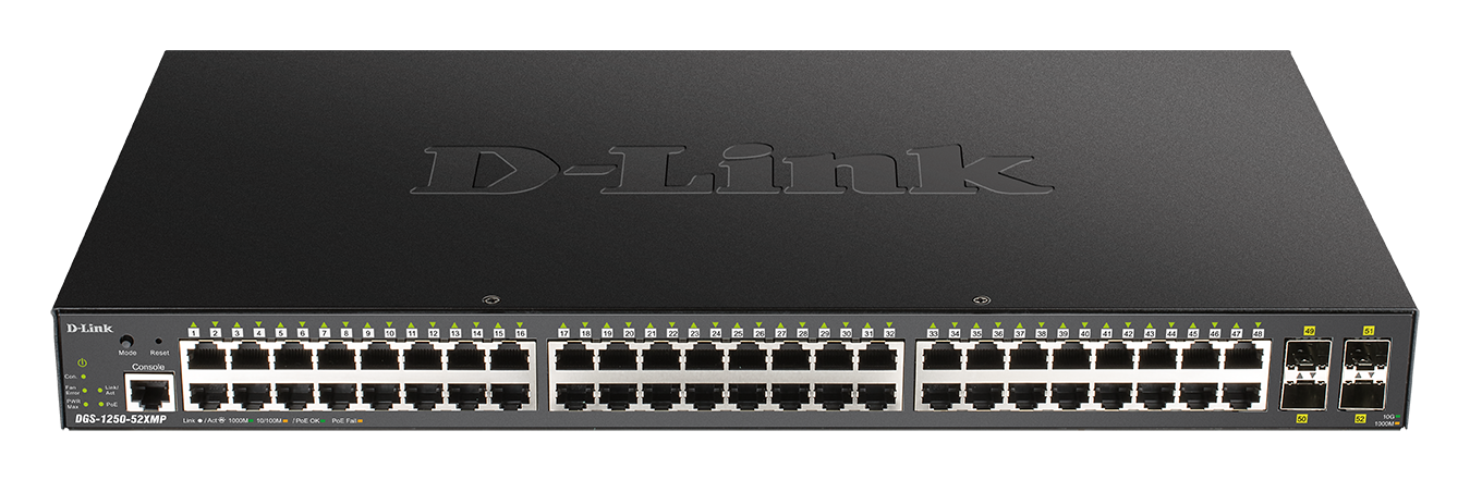 DGS-1250-52XMP 52-Port Gigabit Smart Managed PoE Switch with 10G Uplinks front
