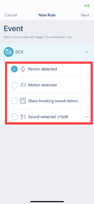 How do I set up motion detection using the mydlink app lh