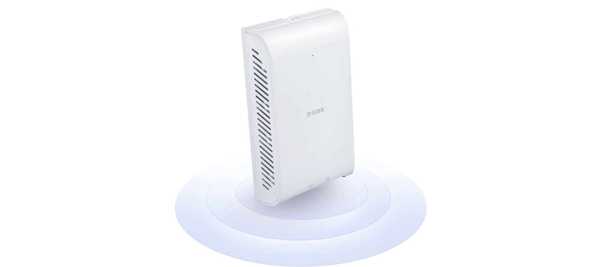 DAP-2620 Wireless AC1200 Wave 2 In-Wall PoE Access Point with waves emanating from it