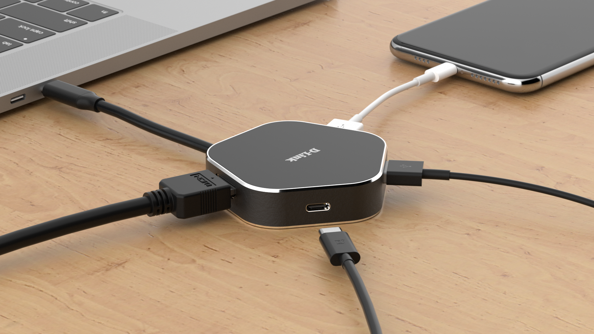 DUB-M420 USB-C to 4-Port USB 3.0 Hub - on a desk, connected to a laptop with example connections