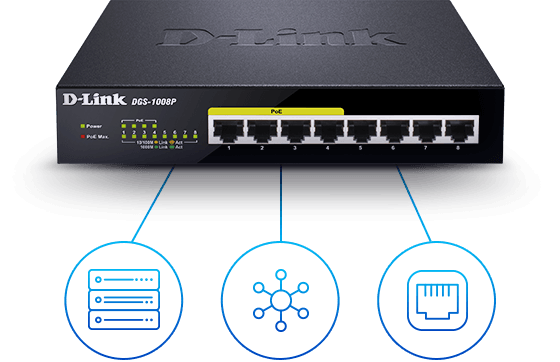 DGS-1008P 8‑Port Gigabit PoE Unmanaged Desktop Switch connected to a server, hub, and router