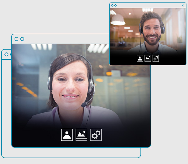 Two employees enjoying a video call.