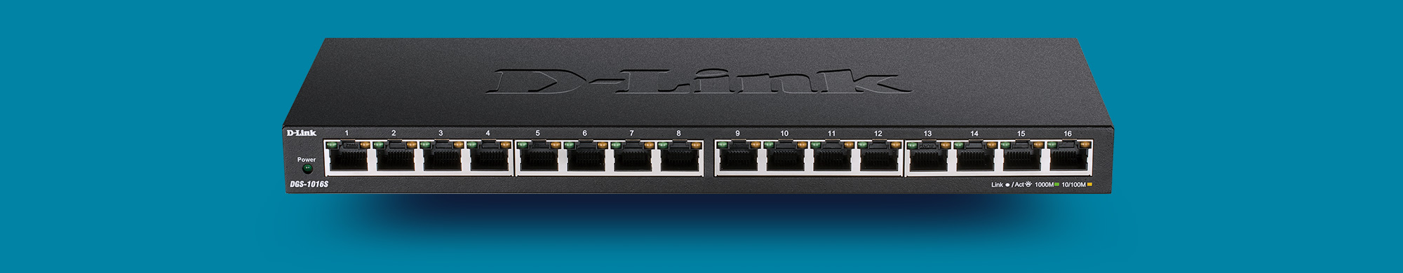 DGS-1016S 16-Port Gigabit Unmanaged Switch.