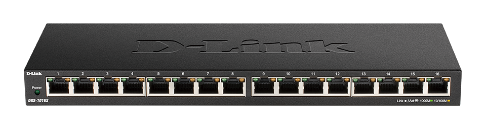 DGS-1016S 16-Port Gigabit Unmanaged Switch - front side.
