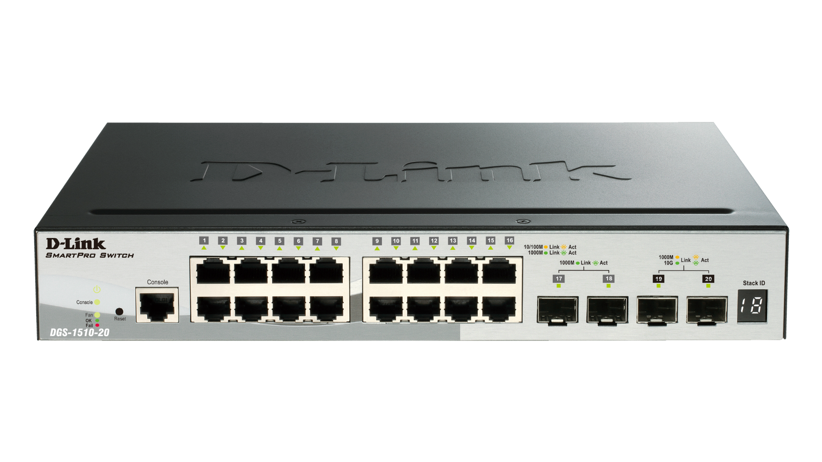 20-Port Gigabit Stackable Smart Managed Switch including 2 10G SFP+ and 2 SFP ports