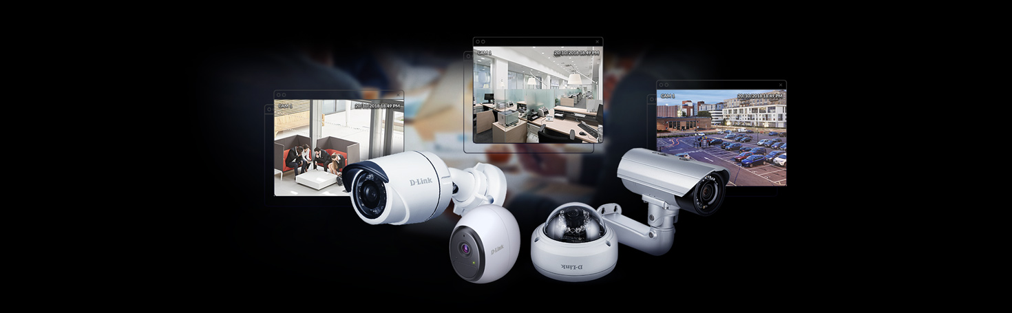 Plug n play surveillance network with a range of D-Link surveillance cameras.