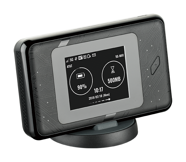 DWR-2101 5G Wi-Fi 6 Mobile Hotspot - angled side view with screen displaying network information.