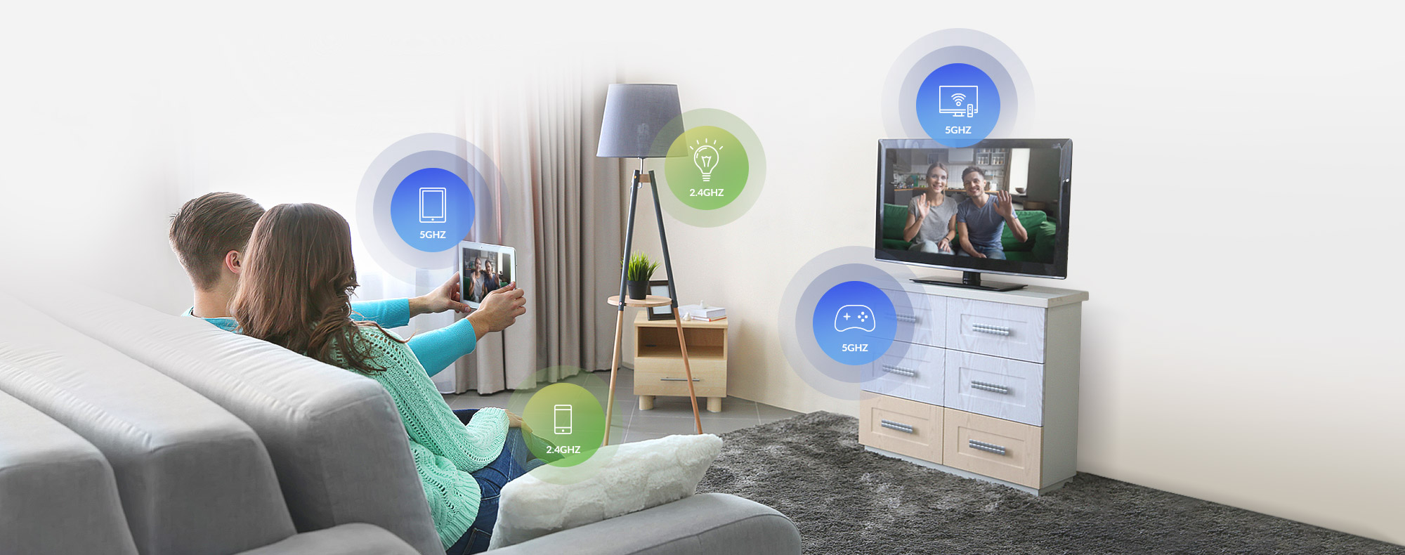 Living room with devices using different wireless bands