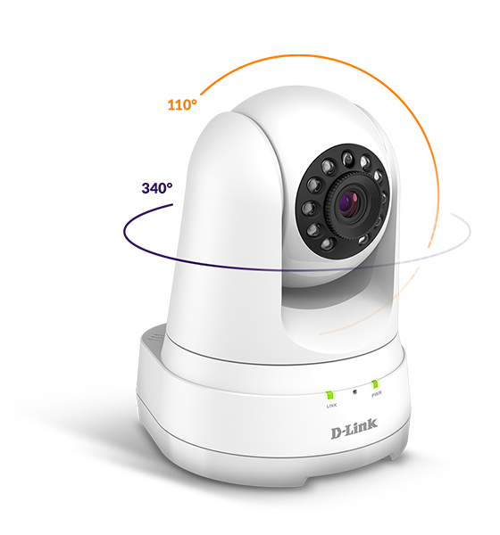 Lines showing horizontal pans and vertical tilts for the DCS-8525LH mydlink Full HD PT Indoor Camera