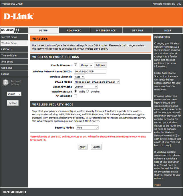 DSL-2750B router Wireless Setup for WINDOWS 7 | D-Link España
