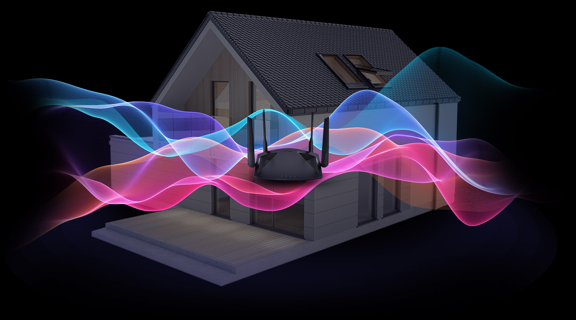 Wi-Fi 6 router with wireless waves overlaid on a smart home with a black background.