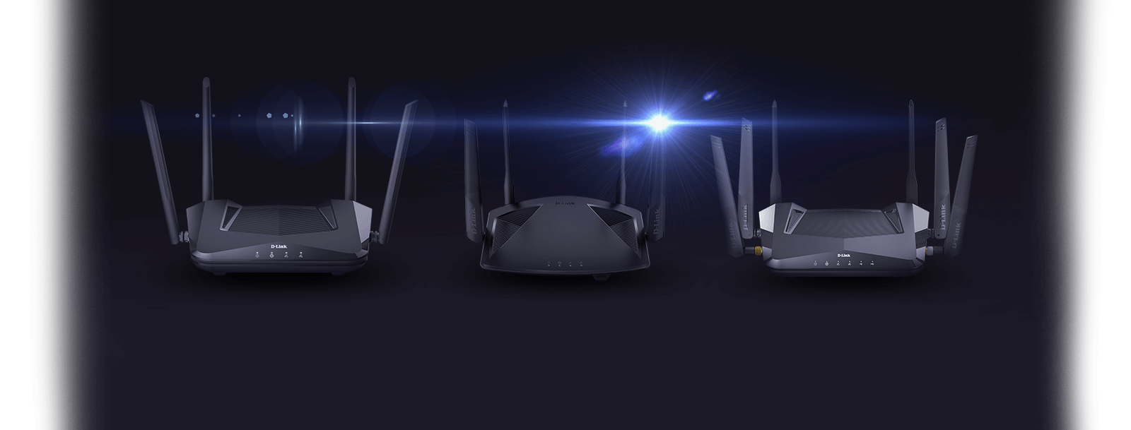 D-Link Wi-Fi 6 routers DIR-X1560, DIR-X1860, DIR-X5460, on a black background a lens flare.