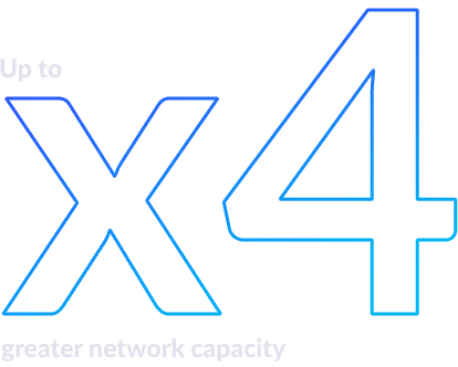 Up to x4 greater network capacity.