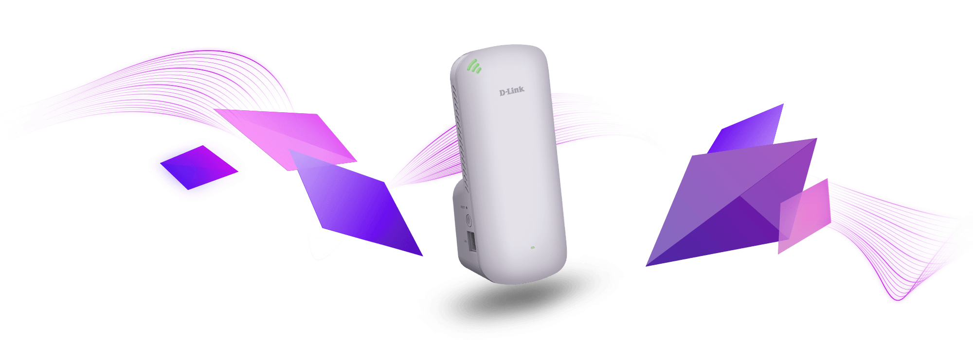 DAP-X1860 AX1800 Mesh Wi-Fi 6 Range Extender with purple wave lines.