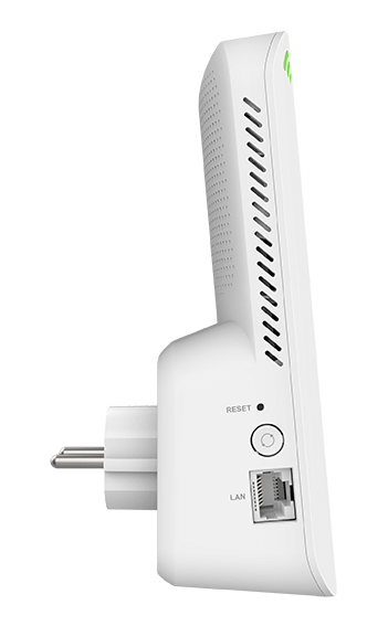 DAP-X1860 AX1800 Mesh Wi-Fi 6 Range Extender - Right side-on view.