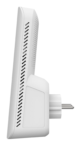 DAP-X1860 AX1800 Mesh Wi-Fi 6 Range Extender - Left side-on view.