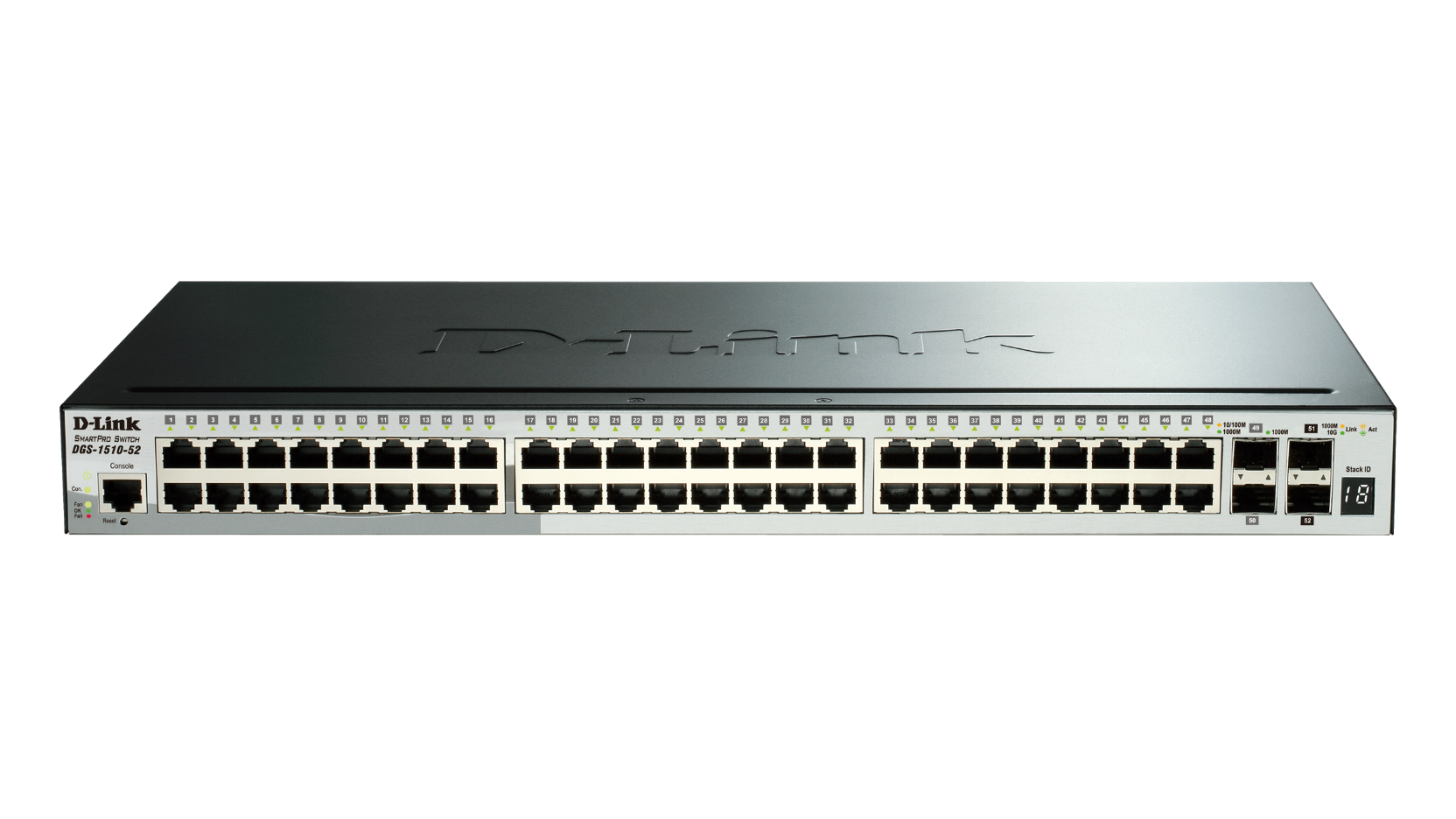 52-Port Gigabit Stackable Smart Managed Switch including 2 10G SFP+ and 2 SFP ports