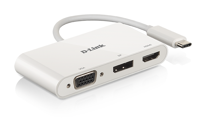 DUB-V310 3-in-1 USB-C to HDMI/VGA/DisplayPort Adapter - side view with reflection