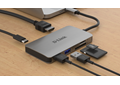 DUB-M610 6-in-1 USB-C Hub with HDMI/Card Reader/Power Delivery - on a desk with example connections