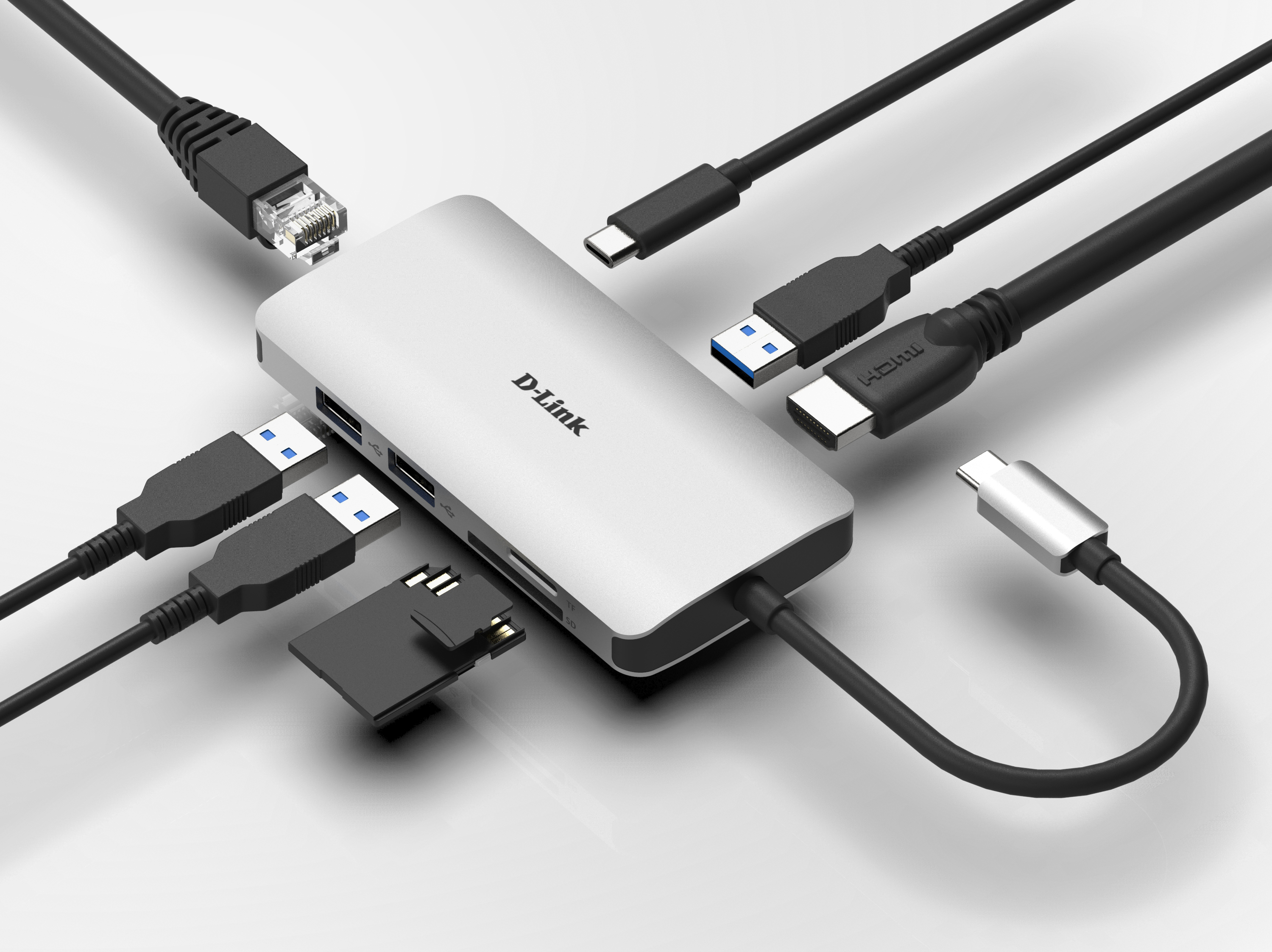 DUB-M810 8-in-1 USB-C Hub with HDMI/Ethernet/Card Reader/Power Delivery - example connections