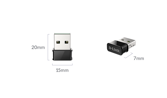 DWA-181 AC1300 MU-MIMO Wi-Fi Nano USB Adapter measurements displaying miniature size