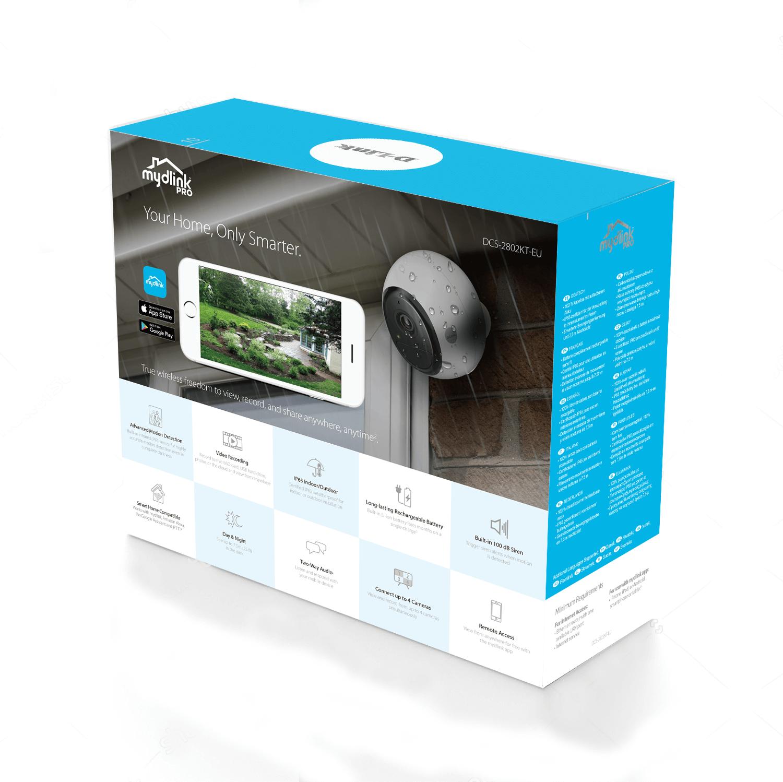 Kit de caméra sans fil DCS-2802KT au dos de la boîte