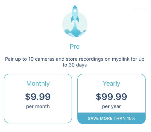 How many mydlink cloud recording subscriptions are available in the mydlink app