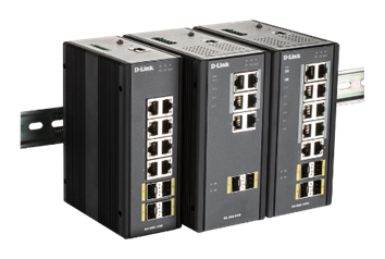 DIS-300G Industrial Gigabit Switches on a DIN-Rail
