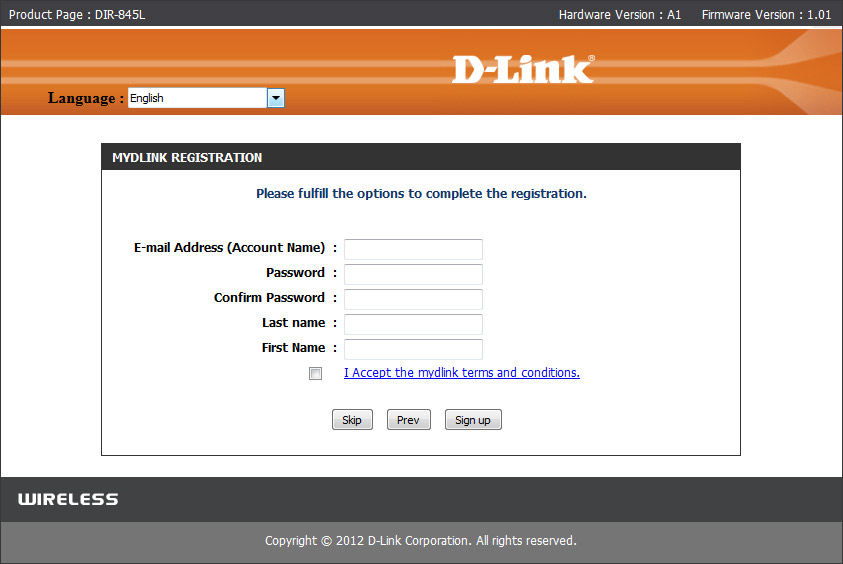 register mydlink account