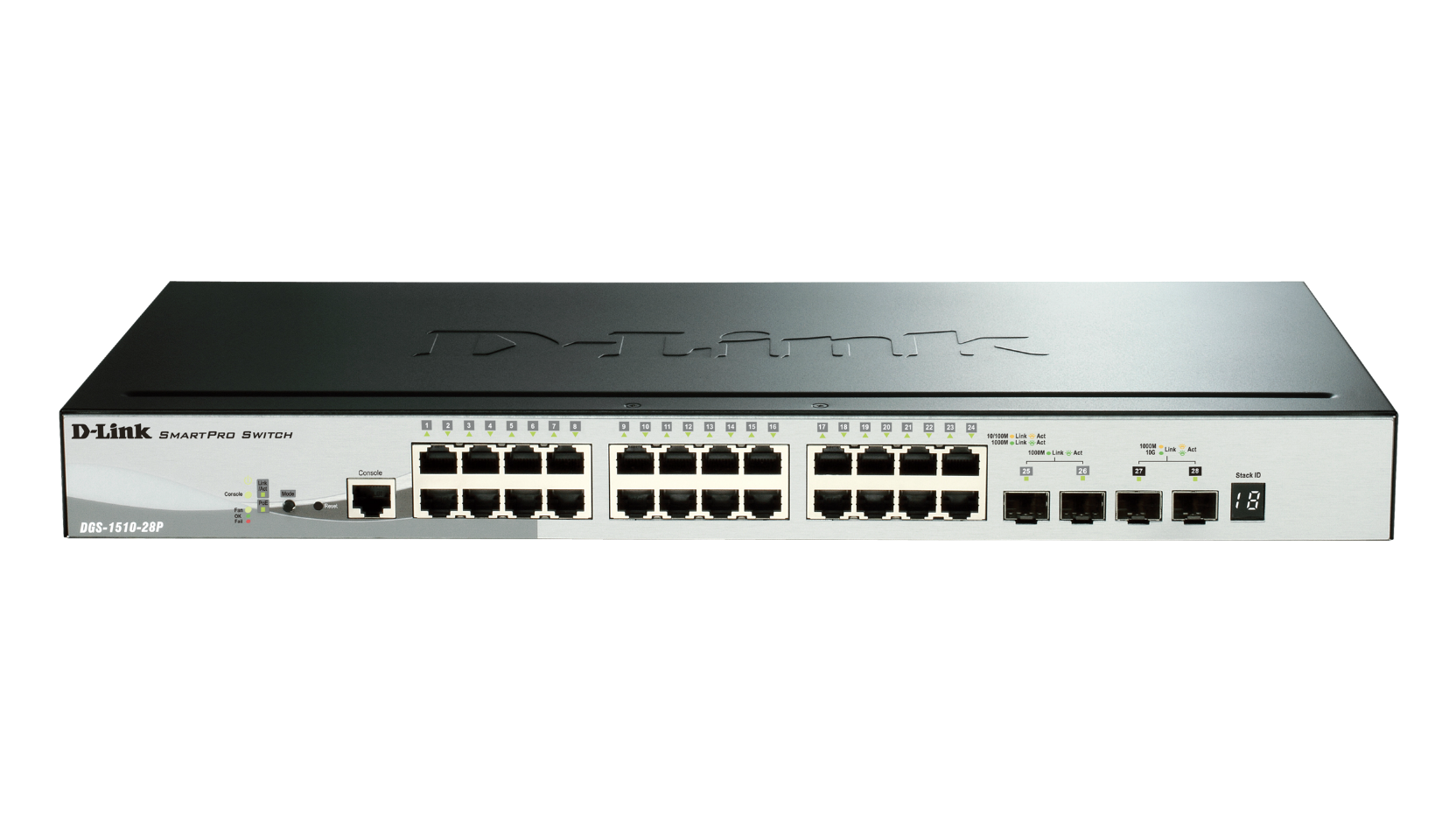 28-Port Gigabit Stackable PoE Smart Managed Switch including 2 10G SFP+ and 2 SFP ports (24 x PoE ports, 193 W PoE budget)