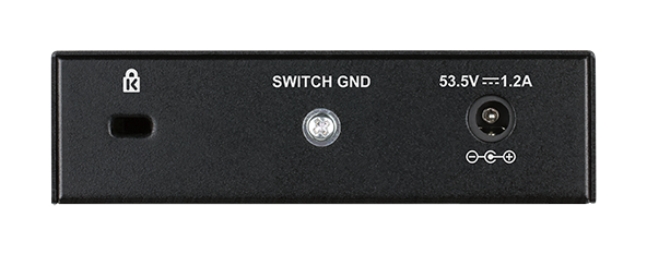 Back of the DGS-1005P 5-Port Desktop Gigabit PoE+ Switch