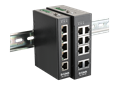 DIS-100E-5W and DIS-100E-8W unmanaged industrial switches on a din-rail