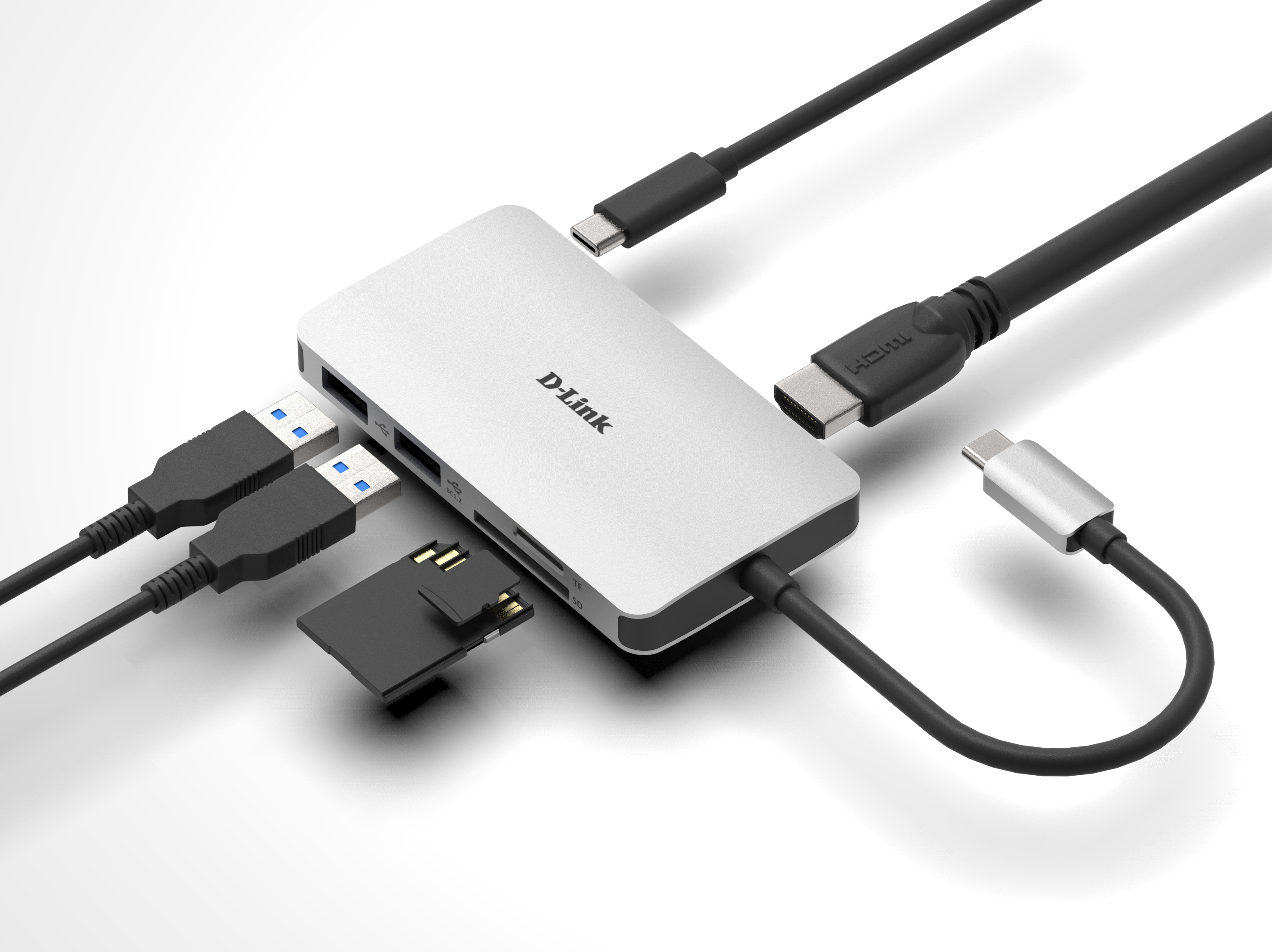 DUB-M610 6-in-1 USB-C Hub with HDMI/Card Reader/Power Delivery - example connections