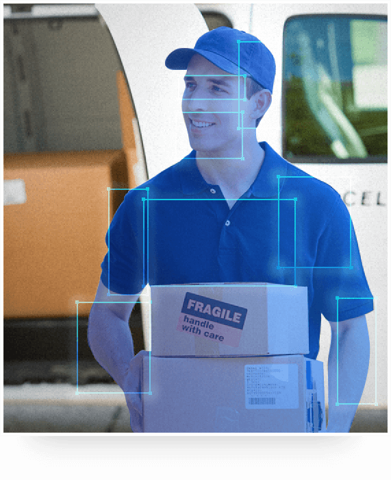 AI-based Person Detection detects a deliveryman