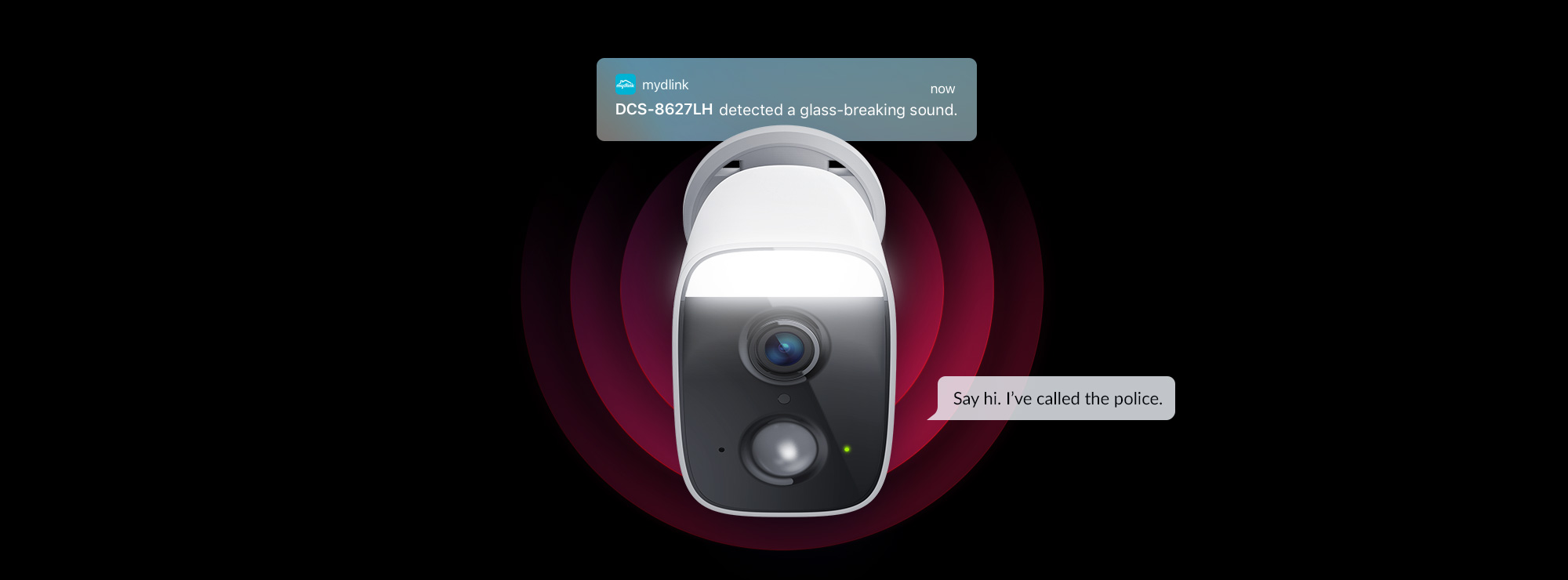 DCS-8627LH Full HD Outdoor Wi-Fi Spotlight Camera using Glass Breaking sound detection